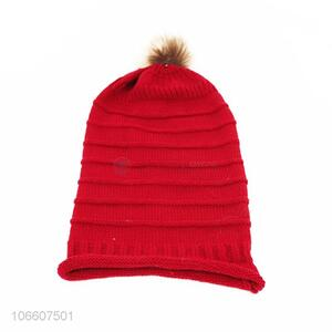 Factory price solid color ladies knitting hat with imitation fur ball