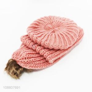 Hot selling women winter knitting hat and scarf set