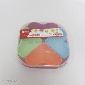 Hot sale 4 compartments heart shape colorful wheat plastic candy box