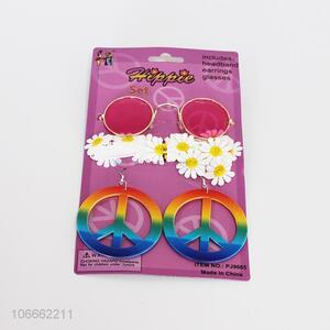 High quality flowers headband glasses and earring set