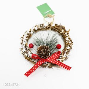 New design Christmas decorative rattan garland with pinecone
