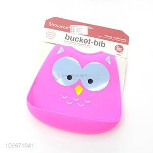 Promotional baby silicone bucket bib with adjustable strap