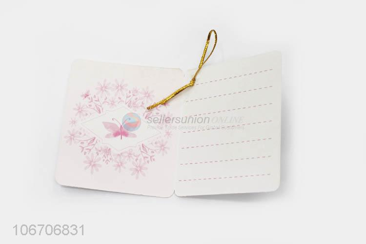 Credible quality rectangle flower printed paper greeting card