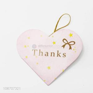 Latest design custom logo heart shape paper greeting card