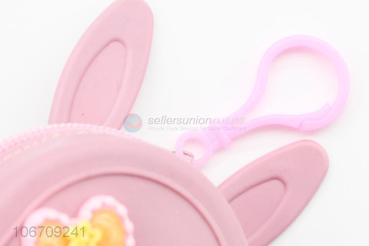 Factory Price Unicorn Pattern Bunny Ears Backpack Shape Silicone Coin Purse