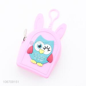 Factory Wholesale Cute Shaped Owl Pattern Small Silicone Silicone Coin Purse