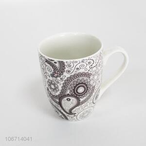 Good price art design ceramic water cup with handle