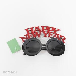 Factory direct sale happy new year glitter plastic glasses