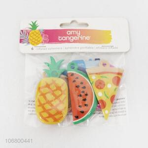 Factory wholesale 6pcs flat fruit pvc foam keyring pendants