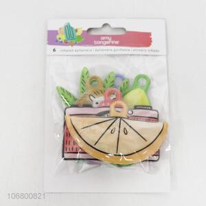Wholesale price 6pcs flat fruit pvc foam keyring pendants