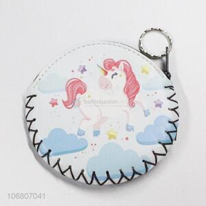 Cheap Custom Zipper Cute Mini Round Shape Unicorn Pu Coin Purse