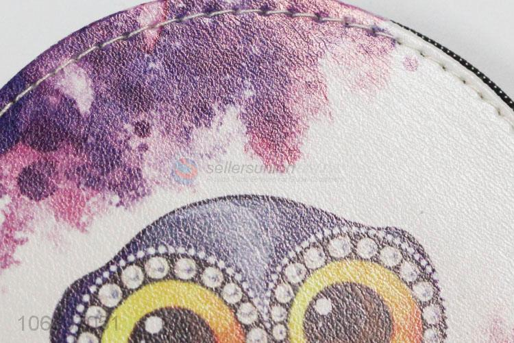 Factory Wholesale Fancy Owl Round Shape Pu Leather Zipper Coin Purse