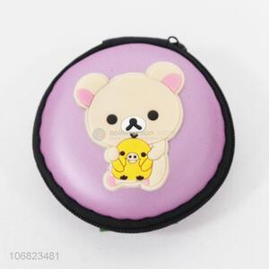 Cartoon Bear Pattern Round Coin Purse With Zipper