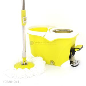 China OEM 360°spin microfiber cleaning mop with easy wring mop pedal bucket