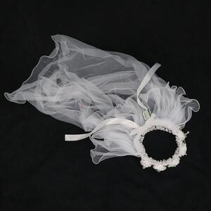 High quality flower wedding veil bridal veil with garland