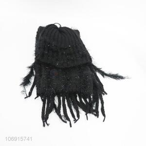 Good Factory Price Fashion Black Knitting Hat Scarf Sets for Women