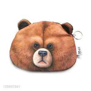 Suitable price 3D brown bear printed coin bag change bag