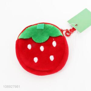 Hot Sale Fruit Coin Case Short Plush Strawberry Coin Purse