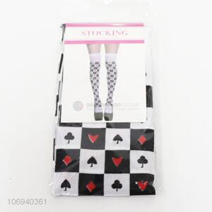New products playing card pattern polyester stockings for ladies