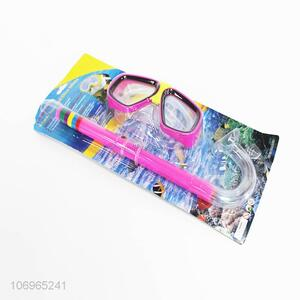 Good quality colorful simming goggles and snorkel set for kids