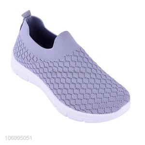 Latest design ladies summer knitted mesh slip-on shoes casual shoes