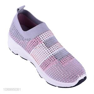 Recent design summer hot drilling knitted mesh women shoes