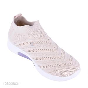 Good price women summer knitted mesh slip-on sports shoes casual shoes