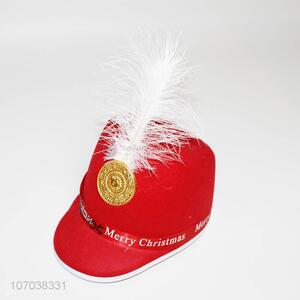 Wholesale Newest Red Merry Christmas Hat With Feather