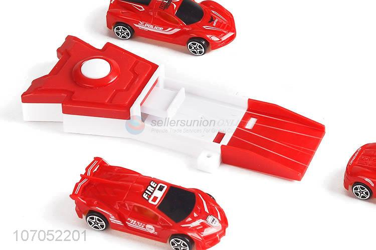 Contracted Design 3Pcs Plastic Fire Truck With Catapult Kids Plastic Toys Set