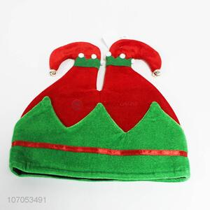 Factory direct sale red and green Christmas elf hat with bells