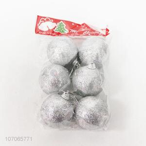 Factory price 6pcs silver glitter Christmas ball for decoration