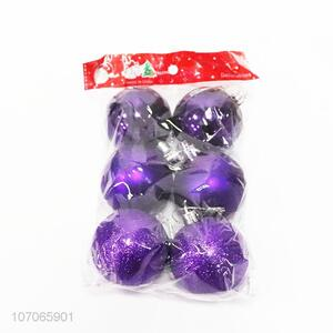 Promotional festival decoration 6pcs colorful glitter plastic Christmas balls