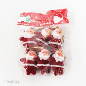 Wholesale 6pcs plastic santa claus ornaments Christmas tree decoration