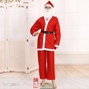 Best Sale 4 Pieces Christmas Santa Claus Costume Suit