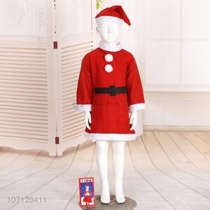Wholesale Christmas Girls Dress Santa Claus Costume Suit