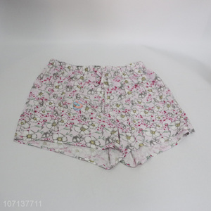 Factory price fashion flower printed 100% viscose shorts women shorts