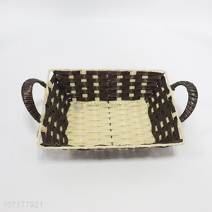 Fashion Design Plastic Weaved Basket Household Storage Basket