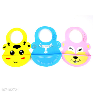 Custom Soft Waterproof Silicone Baby Bib With Food Catcher