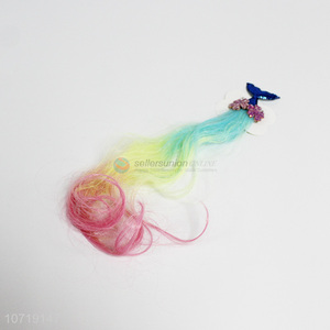 Wholesale hair accessories colorful hair extension with mermaid tail shape hairpin