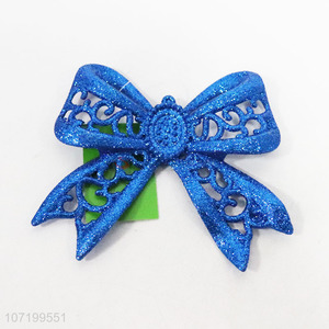 Recent style fashion blue glitter bowknot pendants Christmas tree hanging decoration
