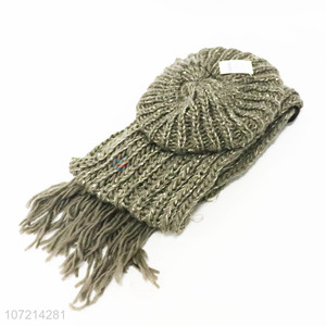 High sales solid color winter acrylic knitted beanie cap and tassel scarf set