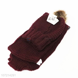 Hot selling solid color winter thermal acrylic knitted beanie cap and scarf set