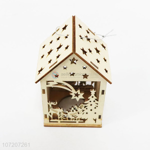 Cheap Wooden House Shaped Pendant Christmas Decoration