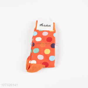 Wholesale Color Wave Point Pattern Cotton Socks Adults Socks