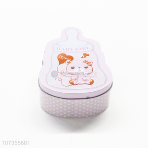 Factory price feeding-bottle shape iron food storage can tin candy jar