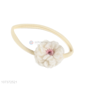 Custom Kids Elastic Headband With Handmade Woolen Flower