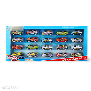Wholesale 20 Pieces Cartoon Pull Back Car Alloy Car Toy Set