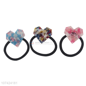 Latest style cellulose acetate sheet hair rings heart hair ties