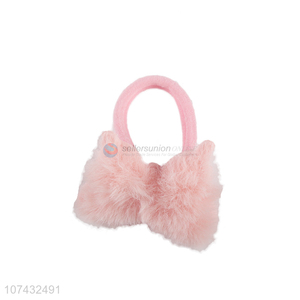 Best Sale Kids Lovely Pink Plush Hair Ring Fashion Hair Accessories