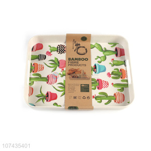 Color Printing Rectangle Bamboo Fiber Serving Tray With Handle